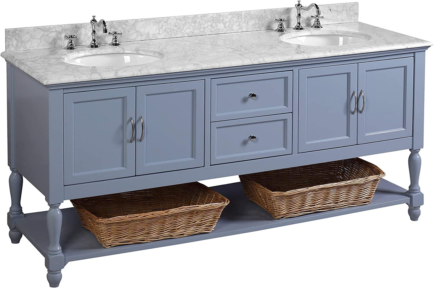 Amazon Com Beverly 72 Inch Double Bathroom Vanity Carrara Powder Blue Includes Powder Blue Cabinet With Authentic Italian Carrara Marble Countertop And White Ceramic Sinks Kitchen Dining