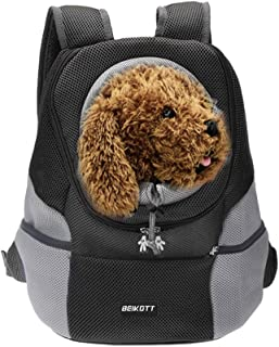 BEIKOTT Cat Backpack Carriers, Dog Cat Front Carrier Backpack for Middle Cats/Dogs/Puppy/Teddy/Bunny, Ventilate Head Out D...