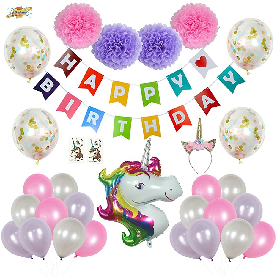 PartyPlanet Unicorn Party Decorations, Birthday Party Supplies For Girls, Colorful Happy Birthday Banner, Unicorn Tattoos, Unicorn Theme Decor Pack, Glitter Unicorn Headband