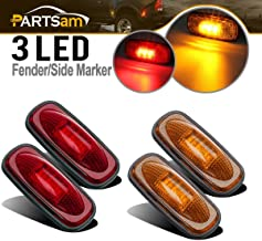 Partsam Amber/Red Side Fender Marker Lights Dually Bed Replacement For Dodge RAM 2500 3500 2003 2004 2005 2006 2007 2008 2009 Heavy Duty Dually Truck Double Wheel Side Fenders Waterproof 12V