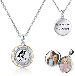 """Mother Day Gift Locket Necklace That Hold 2 Photos, Thunderbird 925 Sterling Silver Engraved \""""Forever in my heart\"""" Locke..."""