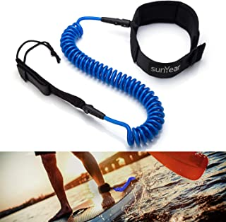 Sunyear Stretchable 10-Foot Coiled Paddle Board Leash with Adjustable Ankle Cuff for Boards 5-10 Feet Long