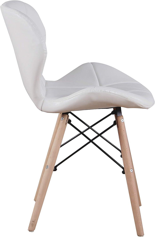 SWEETHOME Lot de 4 chaises de salle à manger en bois design moderne pour salon cuisine salon (gris) Blanc