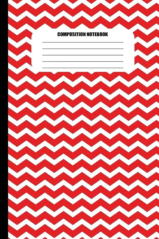 津波足最後のComposition Notebook: Red and White Zig Zags (100 Pages, College Ruled)