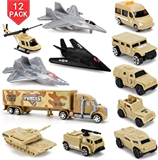 Liberty Imports Set of 12 Special Forces Military Vehicle Playset for Kids - Scaled Army Toy Vehicles Includes Stealth Bomber, Tank, Helicopter, Fighter Jets and More