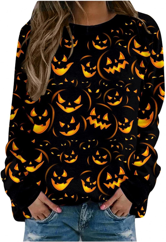FABIURT Sweatshirt for Women,Women's Long Sleeve Halloween Bat Print Crewneck Sweatshirts Pullover Tops Tee Shirts