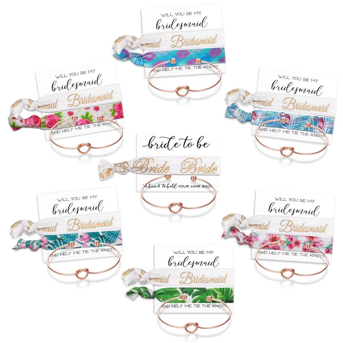 Mookoo 9 7 6 Set Bride Tribe Hair Tie and Bracelets Bridal Shower Cuff for Girls Women Bridemaid Love Knot Bracelets set