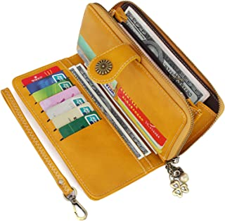 Yusamy Womens Wallet Bifold Clutch Purse Card Holder with Zipper Pocket RFID Blocking Large Capacity PU Leather