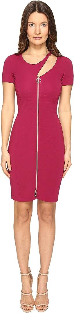 Versace Jeans - Short Sleeve Zip Front Cut Out Dress