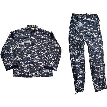 BWOLF製 迷彩服 戦闘服 ジャケット&パンツ 上下セット NWU迷彩 米海軍 US Navy ネイビー ピクセルブルー デジタルブルー (XL)