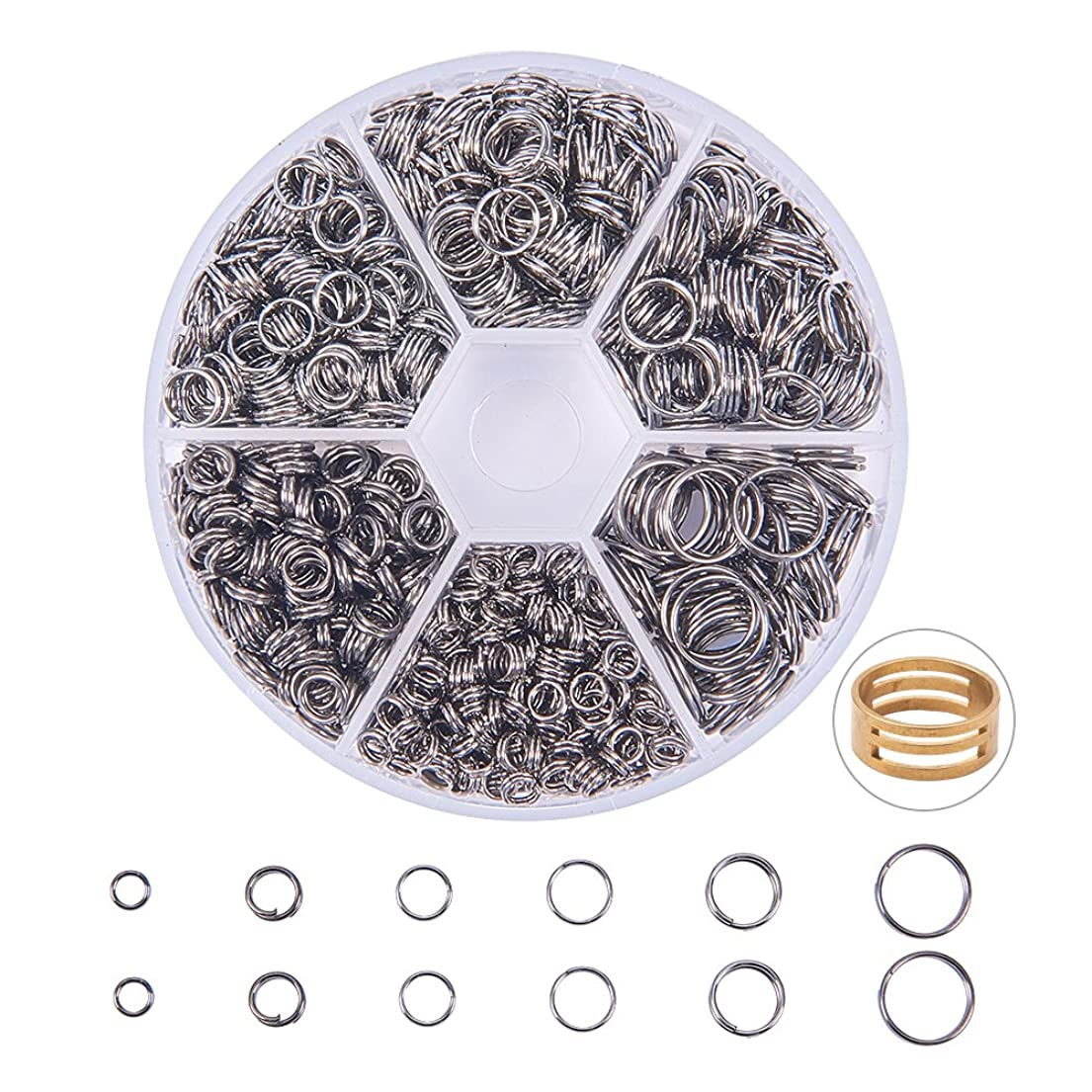 PandaHall Elite 920 Pcs 4/5/6/7/8/10mm Iron Split Rings Double Loop Jump Ring Diameter for Jewelry Making Gunmetal qfofy3010343972