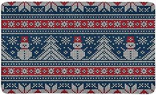 BIRSY Winter Holiday Knitting Design with Snowman and Christmas Tree Doormat Indoor Outdoor Entrance Rug Floor Mats Door M...