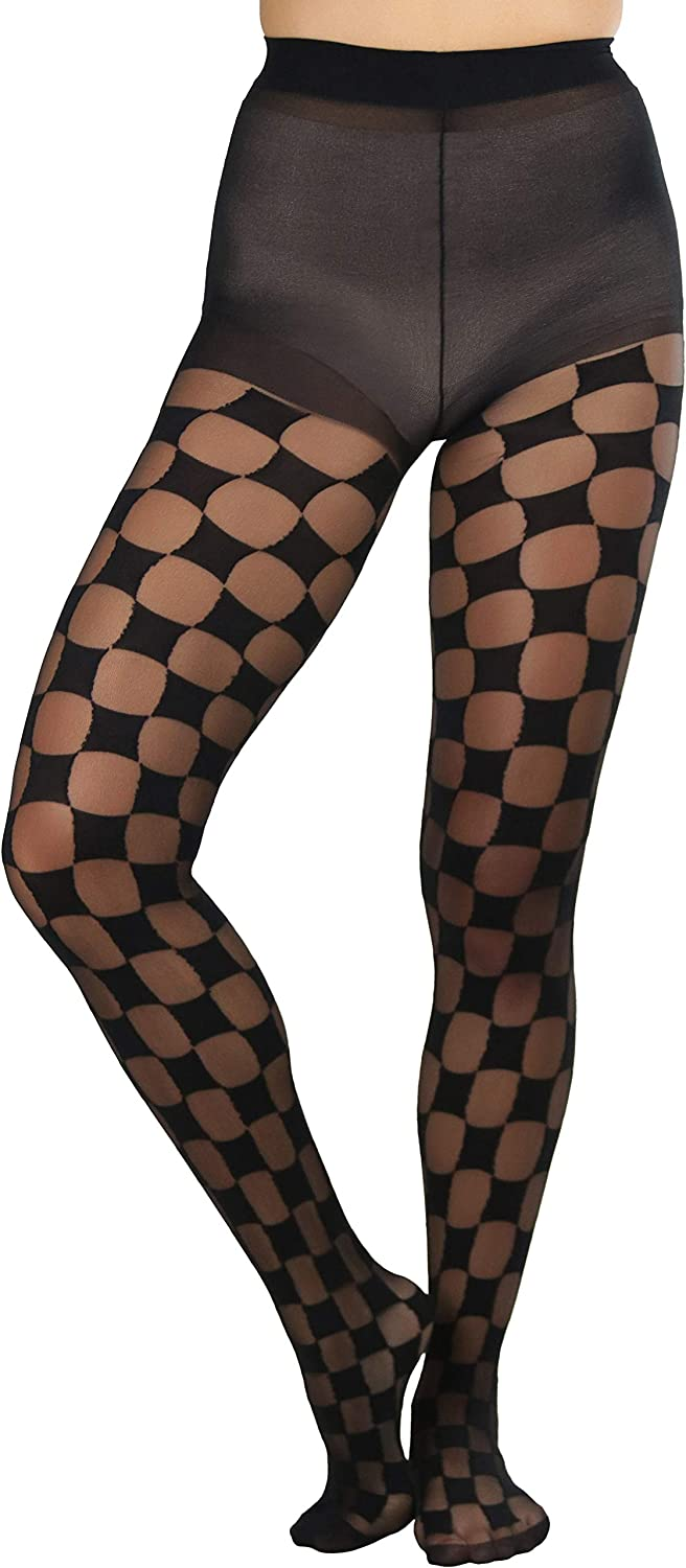 ToBeInStyle Women's Sheer And Opaque Checkered Pantyhose