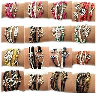 Wholesale 16pcs Vintage Multilayer Multicolor Woven Leather Alloy Owl Braided Infinity Bracelets