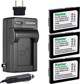 Kastar Battery (3-Pack) and Charger Kit for Nikon EN-EL2 Work with Nikon Coolpix 2500, Nikon Coolpix 3500, Nikon Coolpix SQ500 Digital Cameras