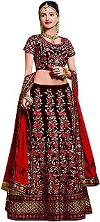 Designer Velvet Lehenga Choli Dupatta Dress Bollywood Indian Ethnic Wedding Women Muslim Bridal Embroidery Zari Work 645 (Maroon & Red)