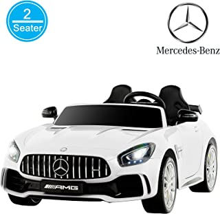 Uenjoy 2 Seater 12V Electric Kids Ride On Car Mercedes Benz AMG GTR Motorized Vehicles with Remote Control, Battery Powered, LED Lights, Wheels Suspension, Music, Horn, White