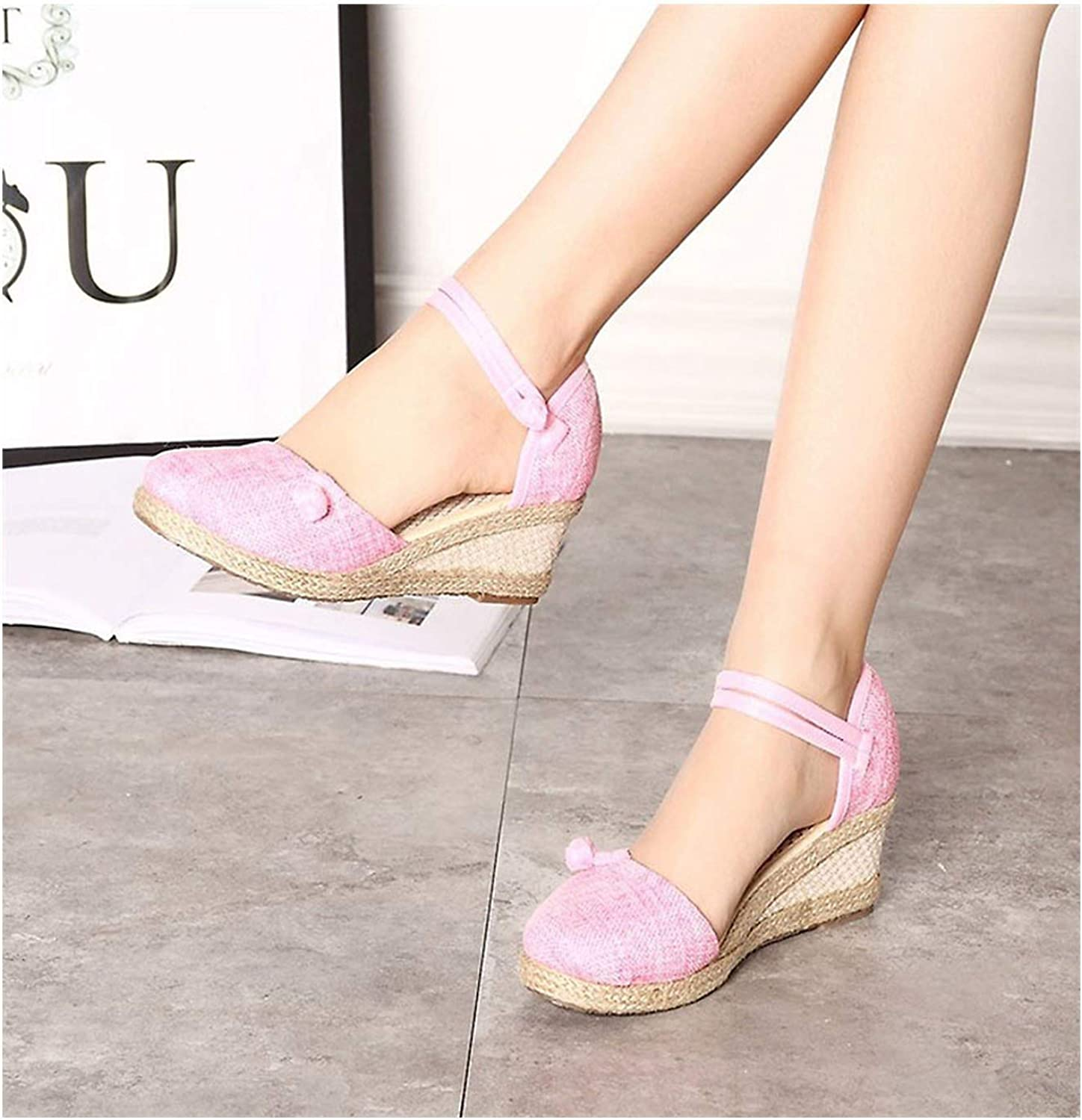 Vintage Women Sandals Casual Linen Canvas Wedge Sandals Summer Ankle Strap Heel Platform