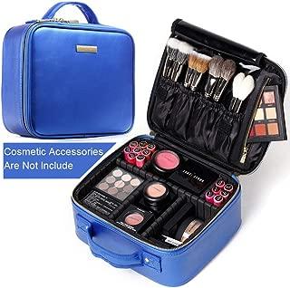 ROWNYEON Makeup Bag PU Leather Makeup Case Makeup Bag Portable Travel Makeup Bag EVA Makeup Train Case Best Girl Women(Blue, Small)