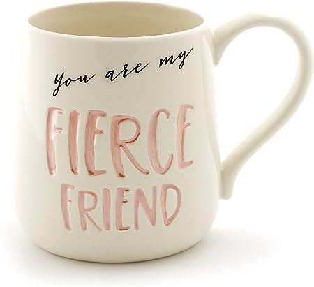 "Enesco ""Fierce Friend"" Stoneware Engraved Coffee Mug"
