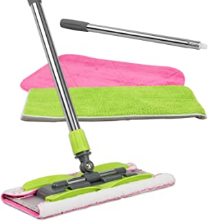 LINKYO Microfiber Hardwood Floor Mop with 3 Flat Mop Pads, Stainless Steel Handle and Extension