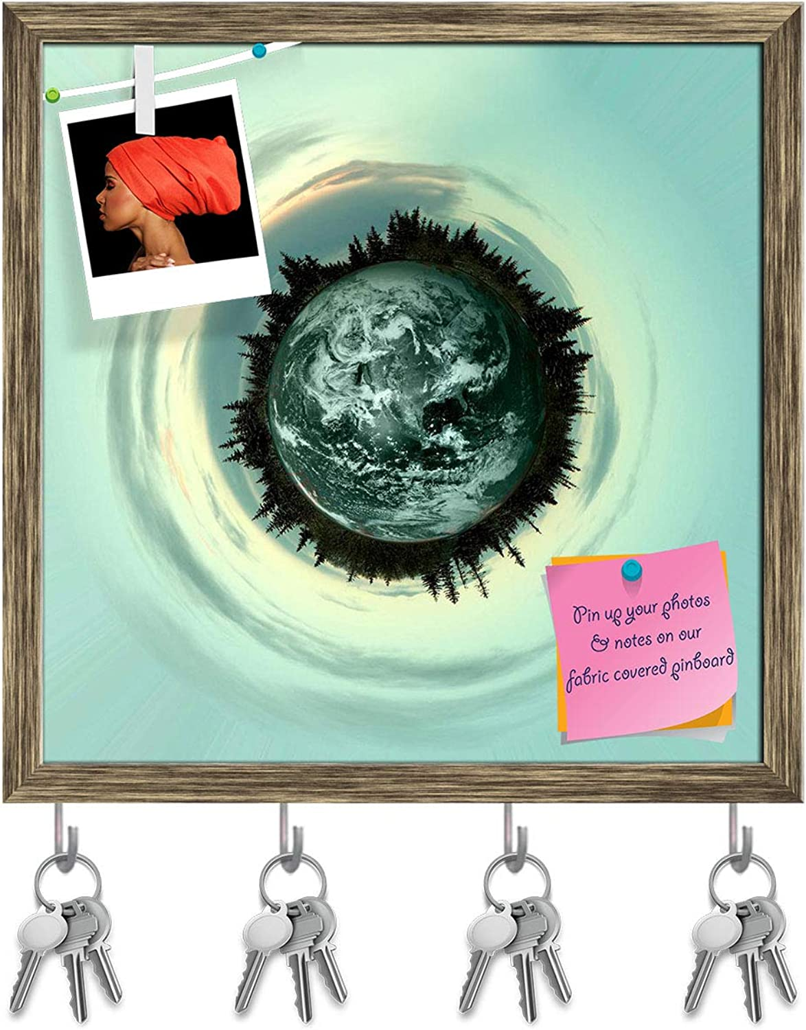 Artzfolio Little Planet with Trees & Clouds Key Holder Hooks   Notice Pin Board   Antique golden Frame 20 X 20Inch