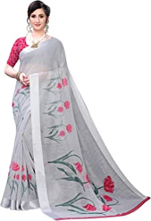 Anni Designer Pure Linen Cotton Summer Floral Designer Saree With Blouse