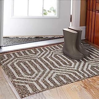 """Indoor Doormat 32""""x 48"""", Absorbent Front Back Door Mat Floor Mats, Rubber Backing Non Slip Door Mats Inside Mud Dirt Trapper Entrance Door Rug Carpet, Machine Washable Low Profile-Brown Time Cloister"""