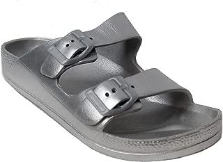 H2K Women's Lightweight Comfort Soft Slides EVA Adjustable Double Buckle Flat Sandals Buddy