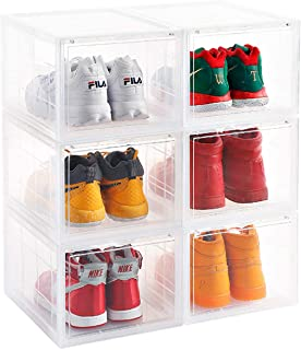 Storage Shoes Box Womens Mens Shoe Storage Box Plastic Foldable Stackable Sneaker Display Box Shoe Container Clear Closet Shelf Shoe Organizer-3 Pack