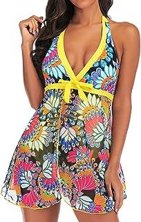 Mikilon Women Two Pieces Halter V Wrap Flower Tankini Sets Flyaway Swimsuits Bathing Suit