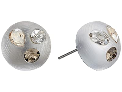 Alexis Bittar Crystal Studded Button Post Earrings (Silver) Earring