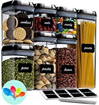 Fiyobo Airtight Food Storage Container Set,7 Pieces BPA Free Plastic Kitchen Organization and Storage with Easy Lock Black...