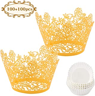 BAKHUK 200pcs Gold Cupcake Liners and Baking Cup, Gold Flowers Cupcake Wrappers Lace Laser Muffin Cup for Wedding Party, Birthday Cake Decoration Supplies