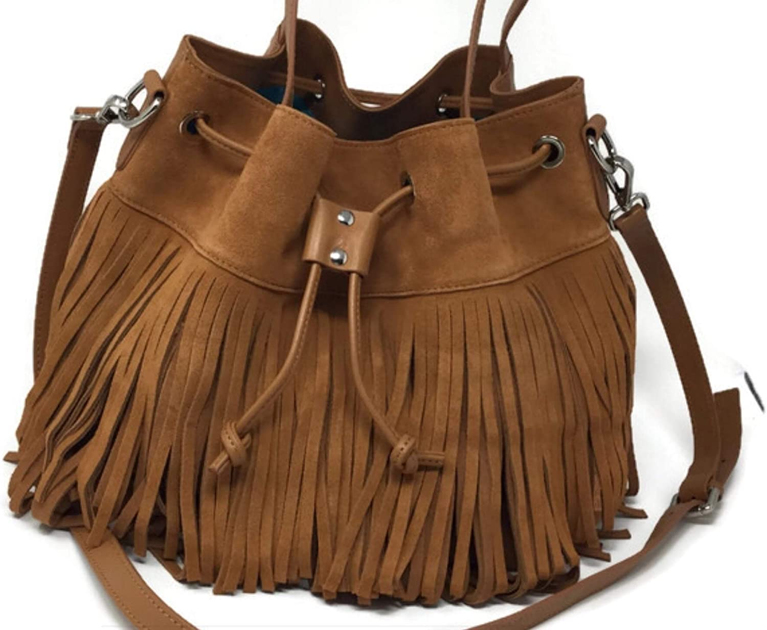 McKaya Fringe Genuine Leather Shoulder Bag Brown