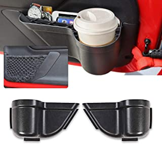 CheroCar JK Front Door Pockets Storage Inserts Side Organizer Box Net Replacement for Jeep Wrangler 2011-2018 JK JKU Interior Accessories, Black