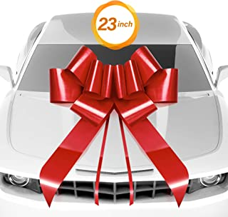 """Big Yellow Car Bow Ribbon Fully Assembled 25/"""" Wide Large Gift Decoration"""