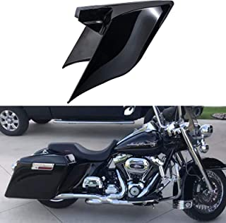 Us Stock Advanblack Vivid/Glossy Black Stretched Side Covers Extended Side Panels Fit for 2009-2013 Harley Touring Street Glide Road Glide Road King Electra Glide Ultra Classic