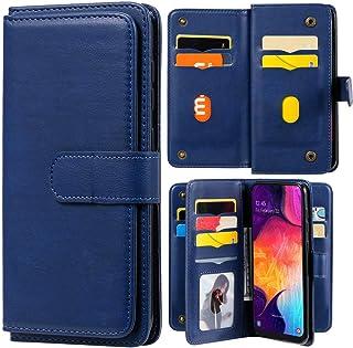 Capa carteira XYX para LG K22/LG K22 Plus, capa carteira flip de couro PU cor sólida com 10 compartimentos para cartão, az...