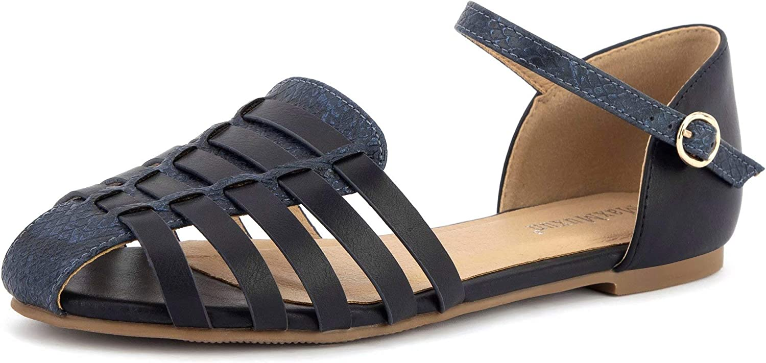 MaxMuxun Women's Closed Toe Flat Sandals Comfortable Ankle Strap