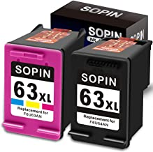 SOPIN Remanufactured HP Ink Cartridge 63 Replacement for HP 63XL 63 XL Used in Officejet 5255 5258 3830 4650 3831 4650 5230 Envy 4520 4512 4516 DeskJet 1112 3630 3632 2130 2132 (1 Black 1 Tri-Color)