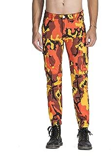 Idopy Men`s Street Style Camouflage Joggers Stretchy Biker Cargo Pants Jeans