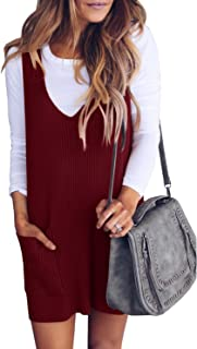 Womens Ribbed Deep V Neck Knitted Shift Dress Tank Vest Sweater