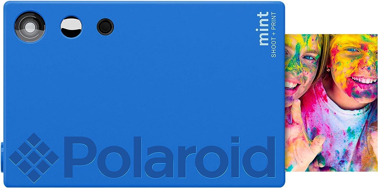 Polaroid Mint Cámara Digital de impresión instantánea con tecnología ZINK sin Tinta (Azul) Impresiones en Papel fotográfico Zink 2x3 con Base Adhesiva