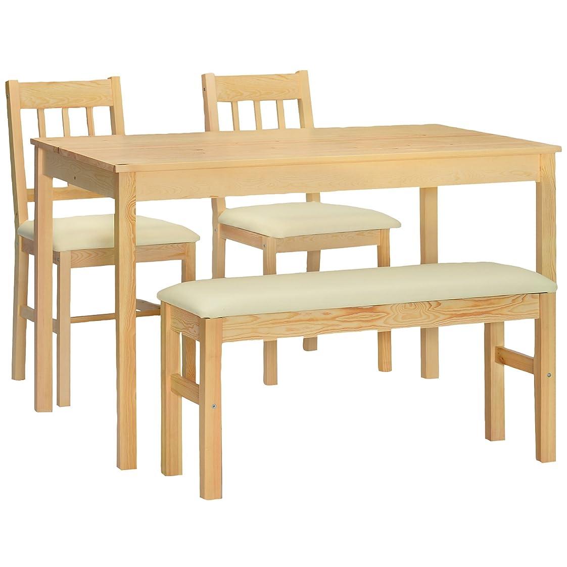 対処する透けて見えるギャングタマリビング(Tamaliving) ハイサイ ダイニング4点セット (アイボリー) テーブル×1台?イス×2脚?ベンチ1台 [北欧テイスト家具/木製/ナチュラル/4人用] 50001566
