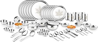 61-PCs Maple Design Plates Bowl Glass Spoon Fork Details about  /Stainless Steel Dinner Set