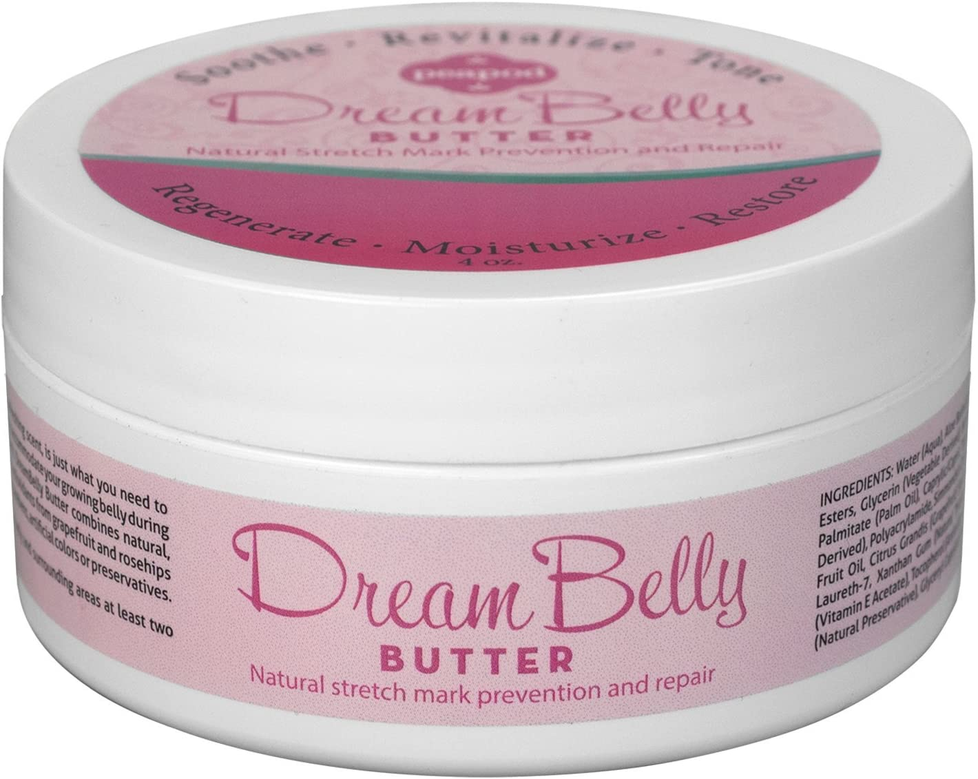 DreamBelly Butter Stretch Mark Cream, Lotion for Women's Tummy and Body to Soothe Skin and for Prevention of Pregnancy Stretch Marks and Scars, Contains Moisturizing Natural Butters and Oils