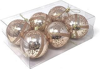 Allgala 6-PK 3 Inch Luxury Glitter Rich Decoration Christmas Tree Ornament Balls-Rose Gold-XB93107