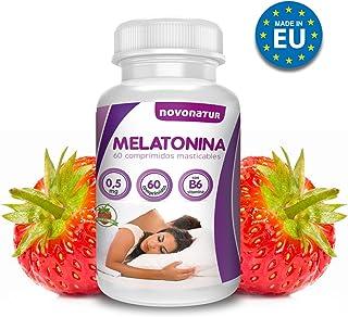 Melatonina 0,5mg con vitamina B6, 60 comprimidos de melatonina masticable sublingual con sabor