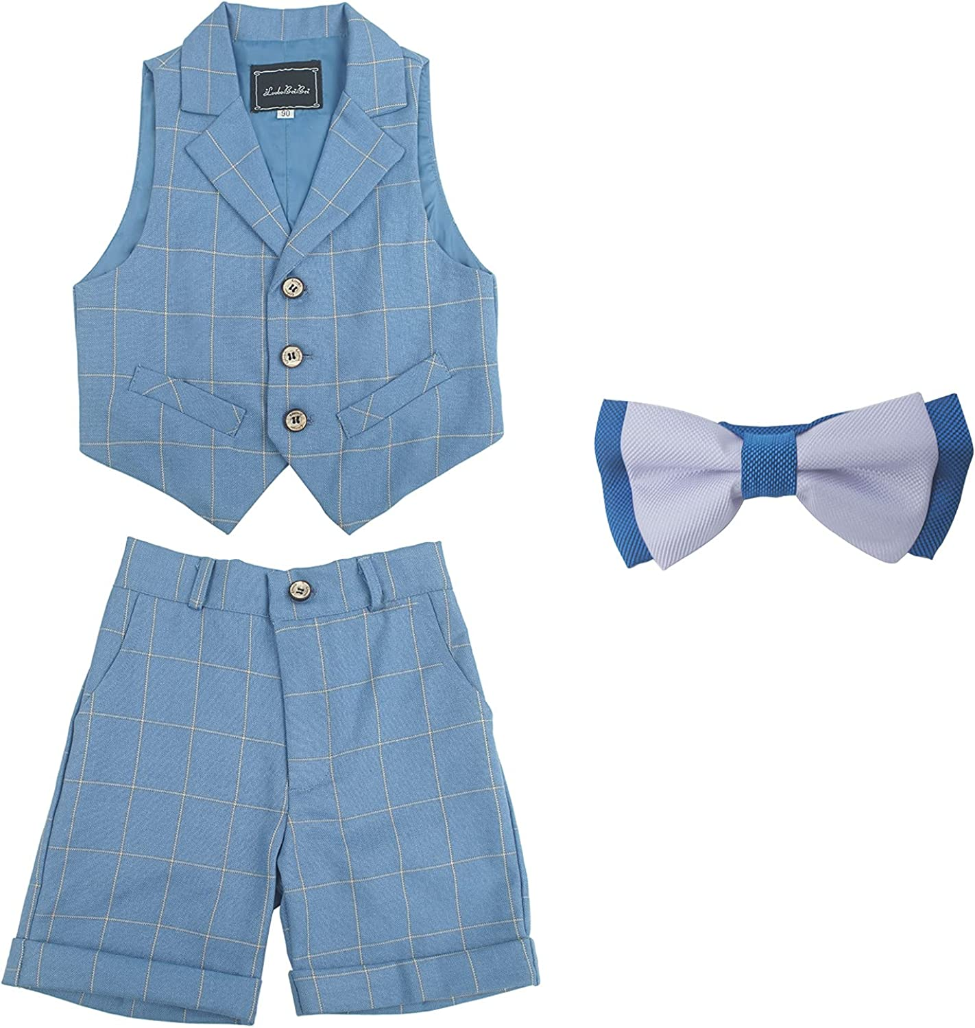 Happy Cherry Baby Boys Gentleman Outfits Suit with Bowtie Formal Vest Shorts Pant Set